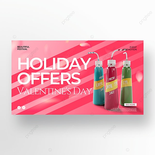 creative drink pink valentine food promotion template