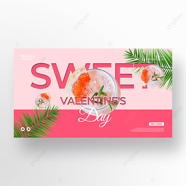 cute style pink valentine food promotion template