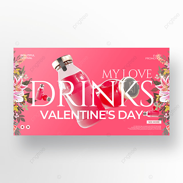 exquisite pink valentines day food promotion template