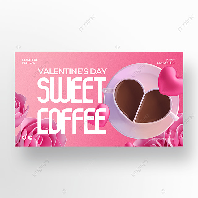 fashion exquisite pink valentine food promotion template
