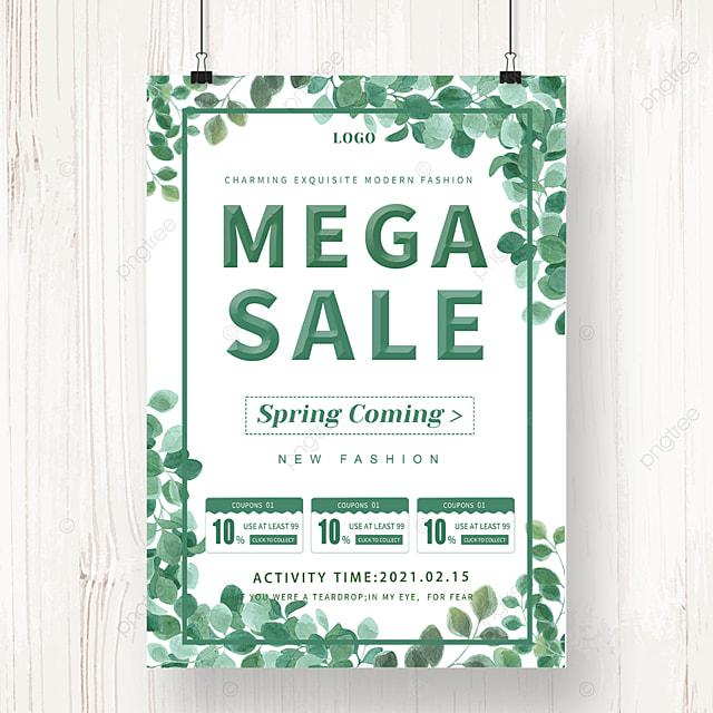 green leaf spring promotion poster