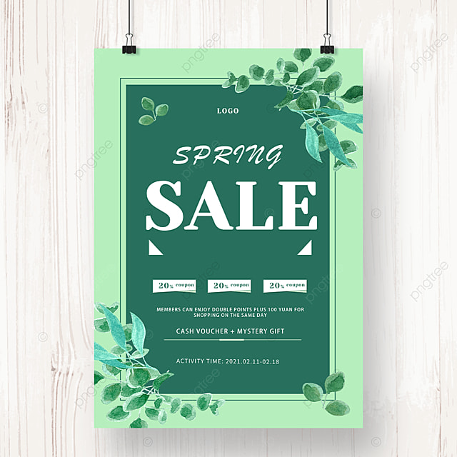 green leaf spring sale discount poster