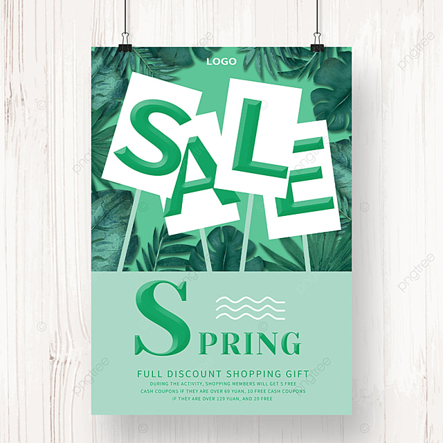 green leafy spring promotion brand poster