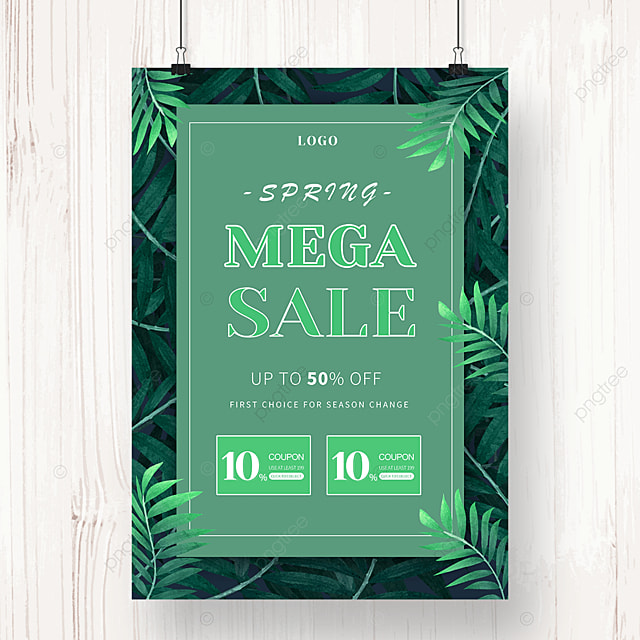 green leaves spring promotion poster