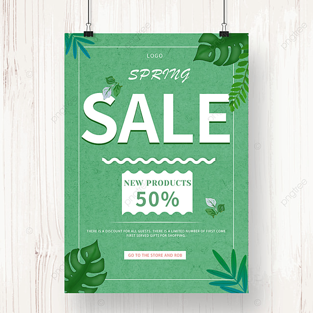 green spring new product promotion discount poster