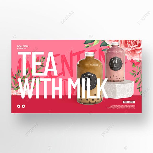 milk tea pink valentine food promotion template