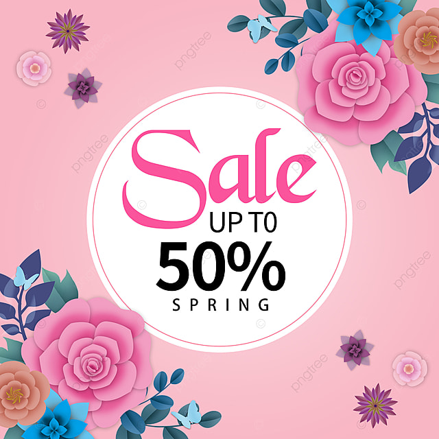 pink spring promotion template