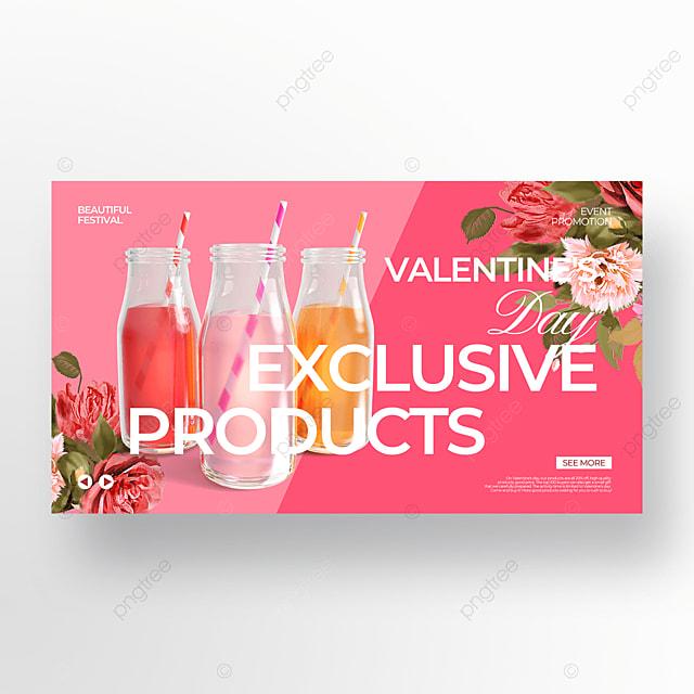 pink valentine food promotion template