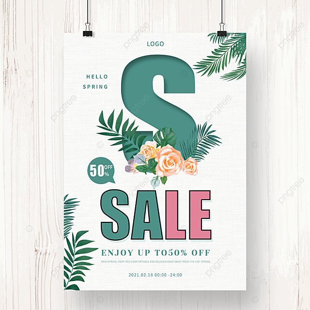 simple spring new promotion poster