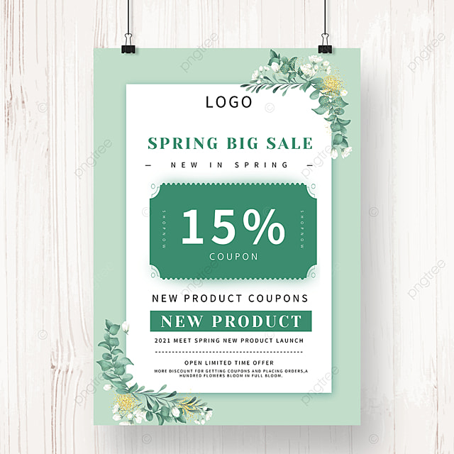 spring coupon discount promotion poster