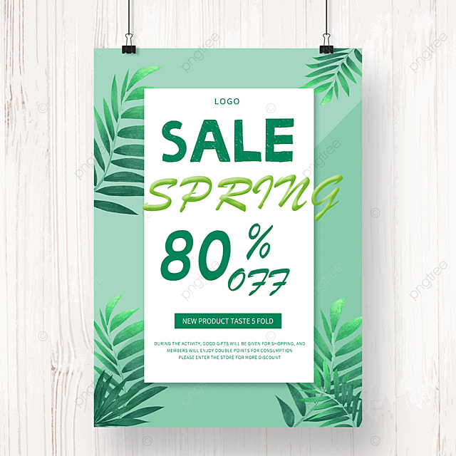 spring new product promotion green leaf poster