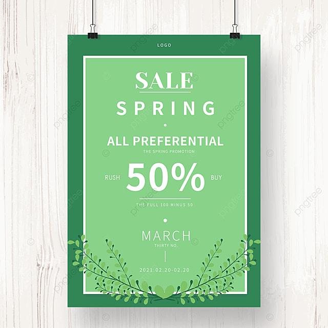 spring promotion green leaf poster
