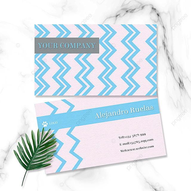 blue elegant geometric curve business card