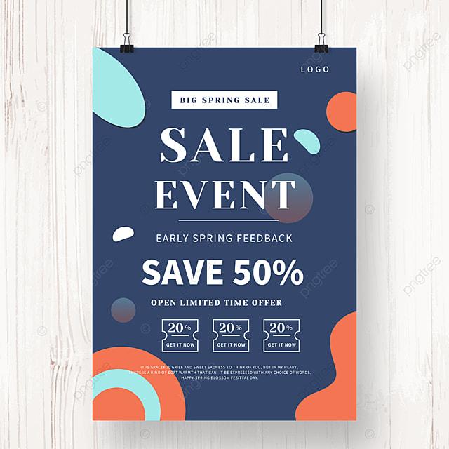 blue geometric irregular shape promotion poster