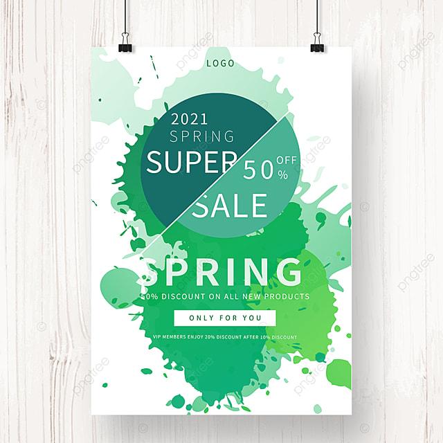 green irregular shaped spring promotion poster
