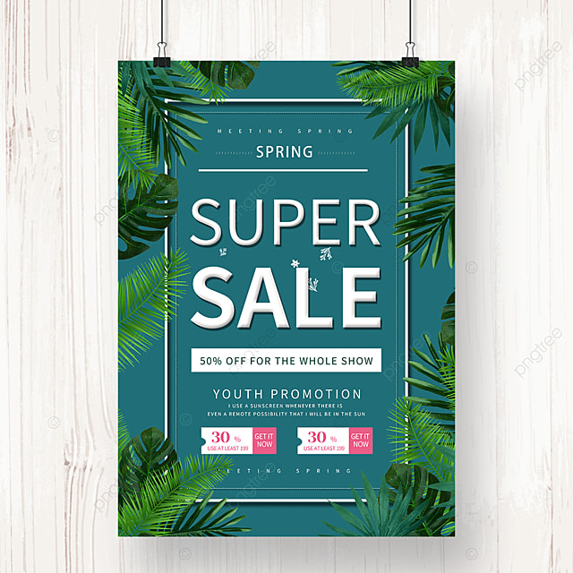 new discount promotion poster on green spring new products