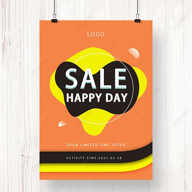 orange geometric irregular shape promotion poster