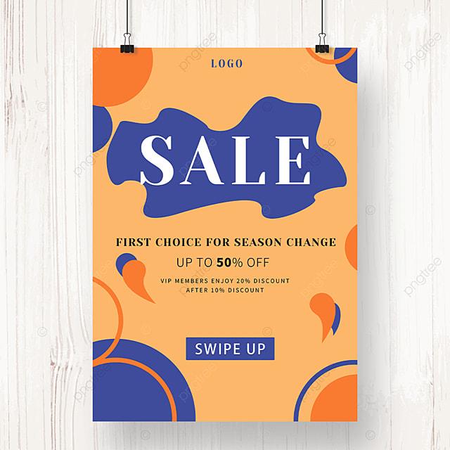orange round irregular shape promotion poster