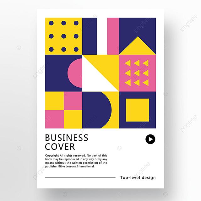 pink blue yellow modern minimalist fashion geometric business plan cover poster