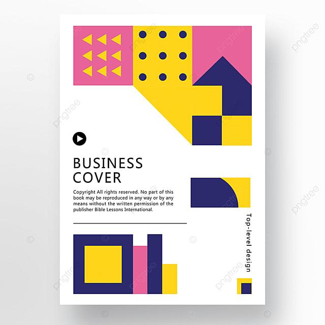 pink blue yellow modern minimalist geometric business plan cover poster