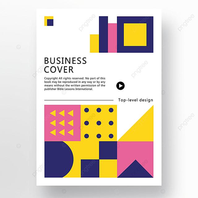 pink blue yellow modern stylish geometric business plan cover poster