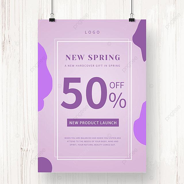 purple irregular shaped spring promotion poster