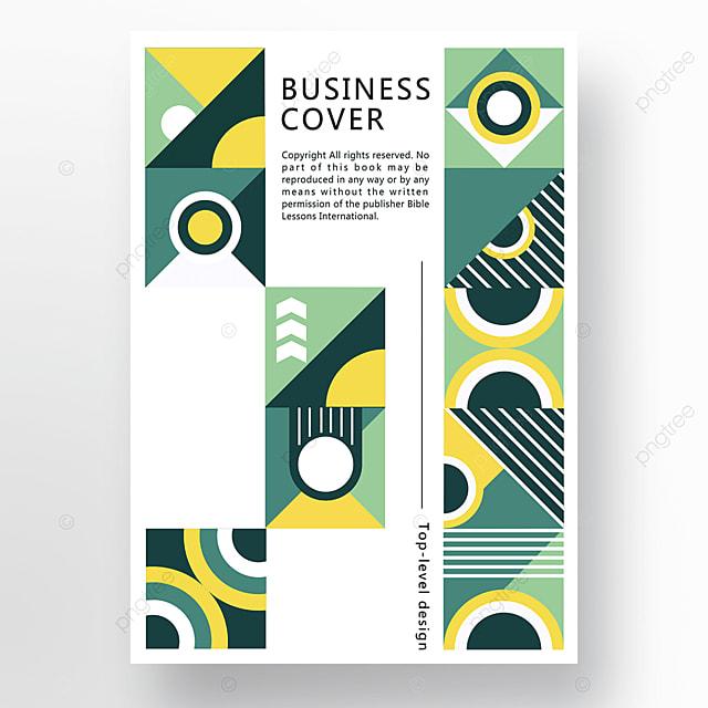 yellow green modern minimalist fashion geometric business plan cover poster