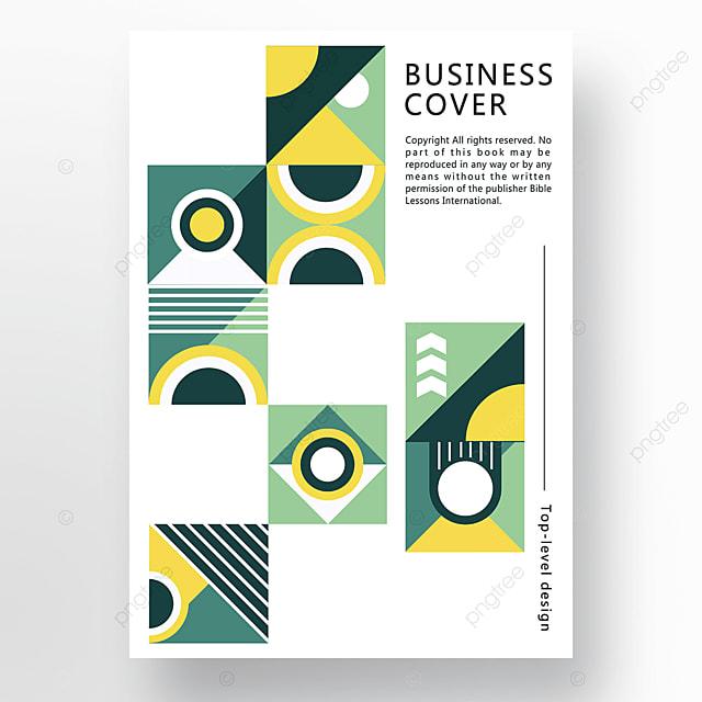 yellow green modern minimalist geometric business plan cover poster