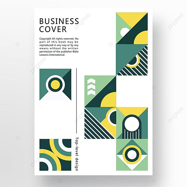 yellow green modern stylish geometric business plan cover poster