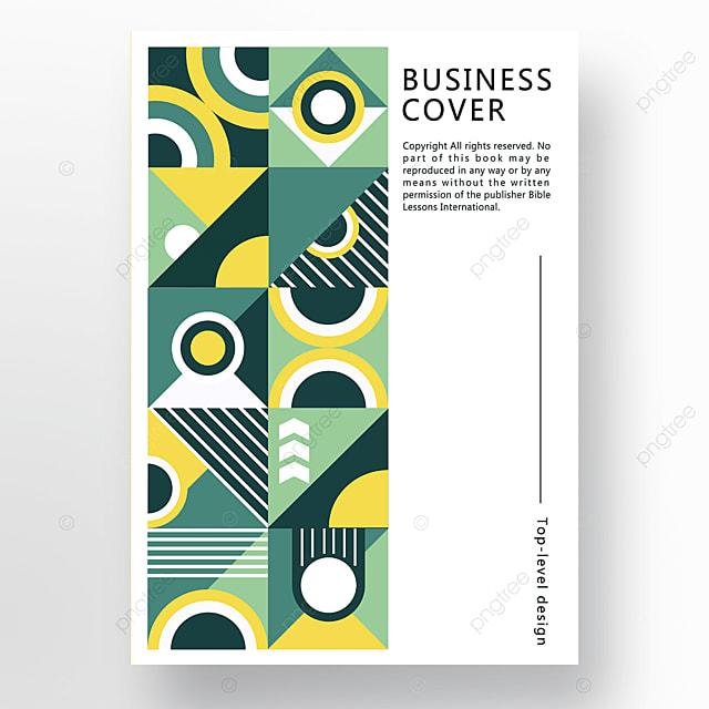yellow green modern texture geometric business plan cover poster