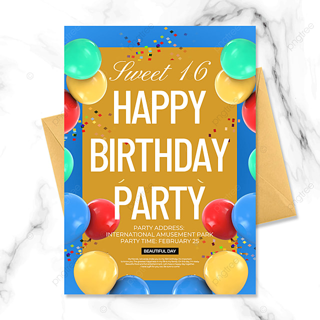 balloon creative birthday party invitation