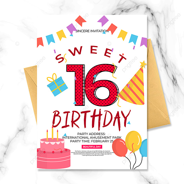birthday party invitation in cartoon style on white background
