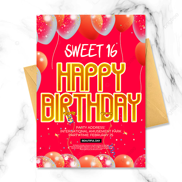 birthday party invitation with balloons on red background