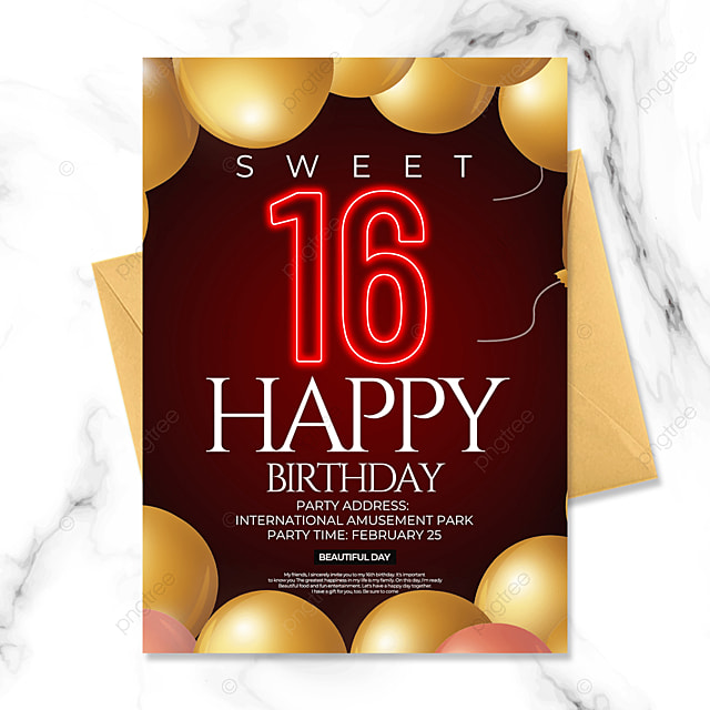 birthday party invitation with golden balloons
