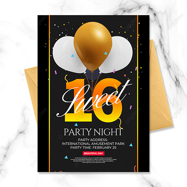 black gold balloon birthday party invitation