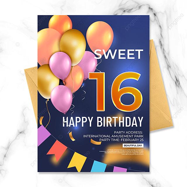 blue background creative birthday party invitation