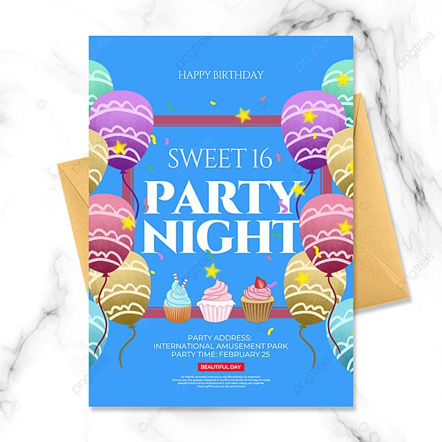 blue cartoon style birthday party invitation