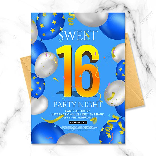 blue creative birthday party invitation
