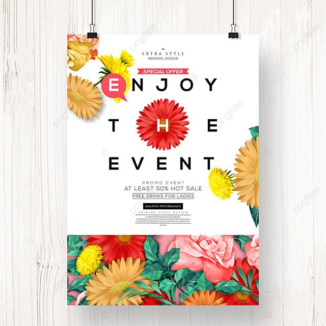 cartoon romantic flower spring promotion poster