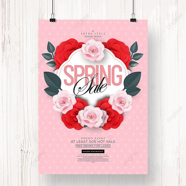 cartoon spring flower promotion poster