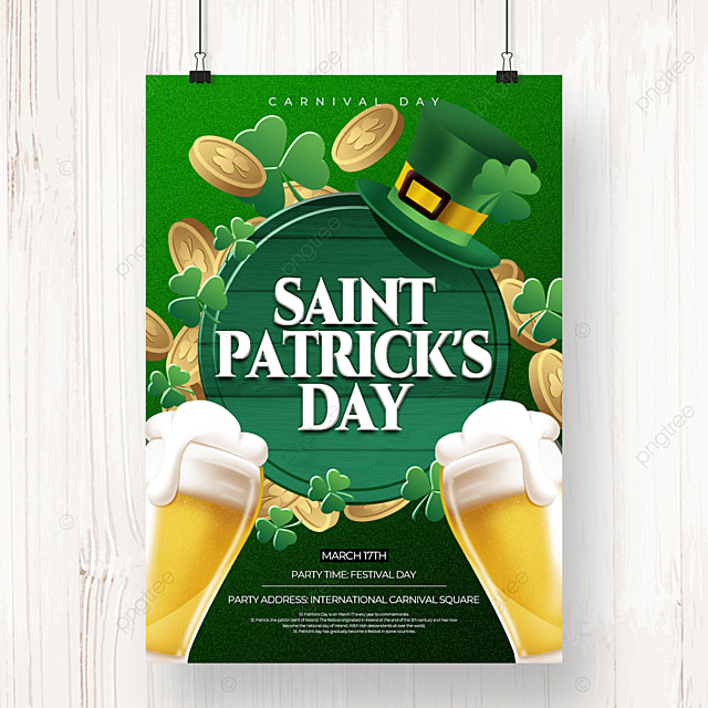 cartoon style creative st patricks day beer poster