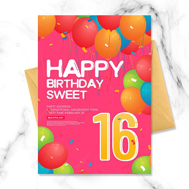 cartoon style pink birthday party invitation