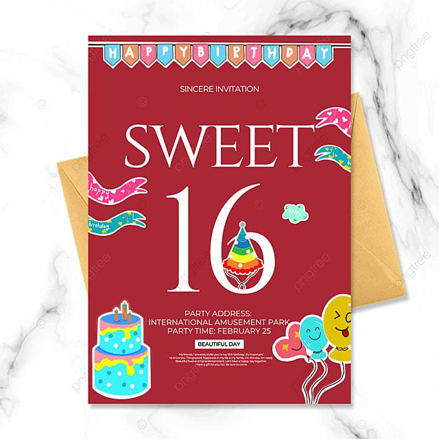 creative birthday party invitation on dark red background