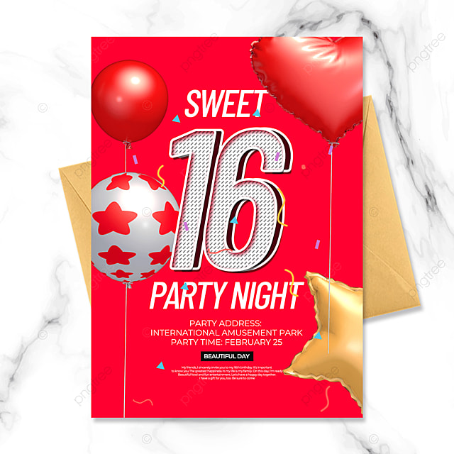 creative red birthday party invitation