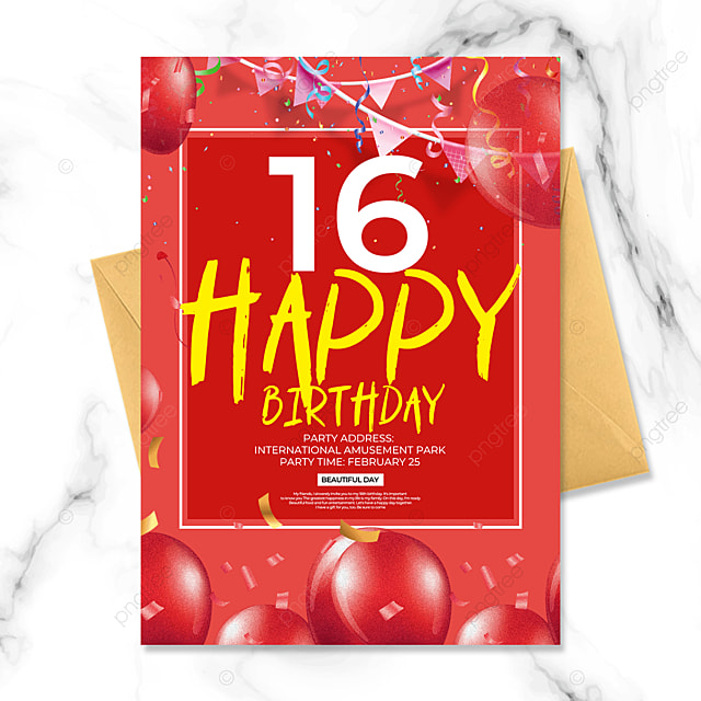 crimson creative birthday party invitation