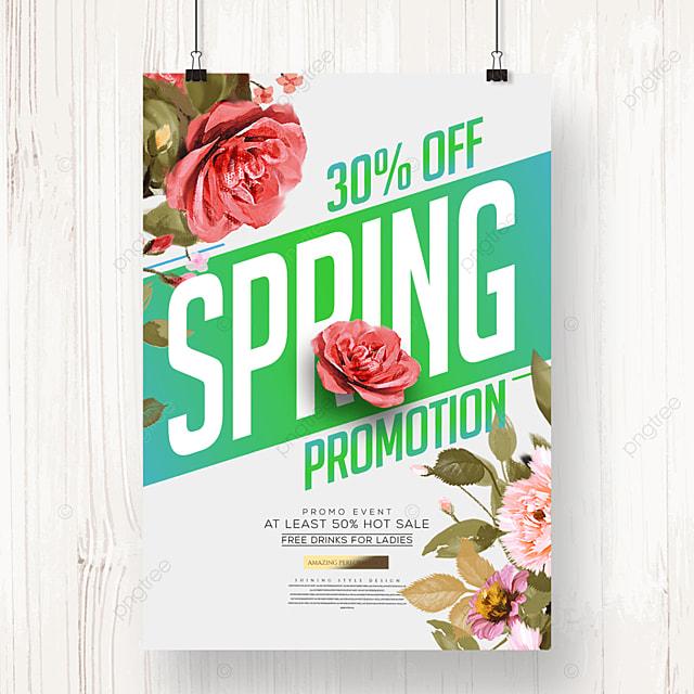 fashion cartoon flower spring promotion poster