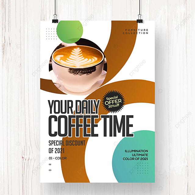 fashion circular geometric coffee promotion poster
