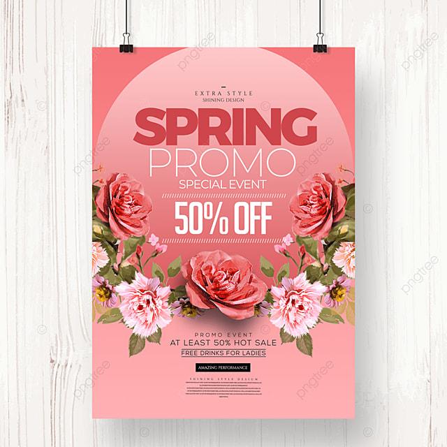 fashion color cartoon flower spring promotion poster