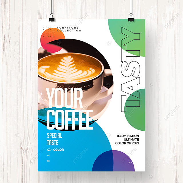 fashion color geometric coffee promotion poster