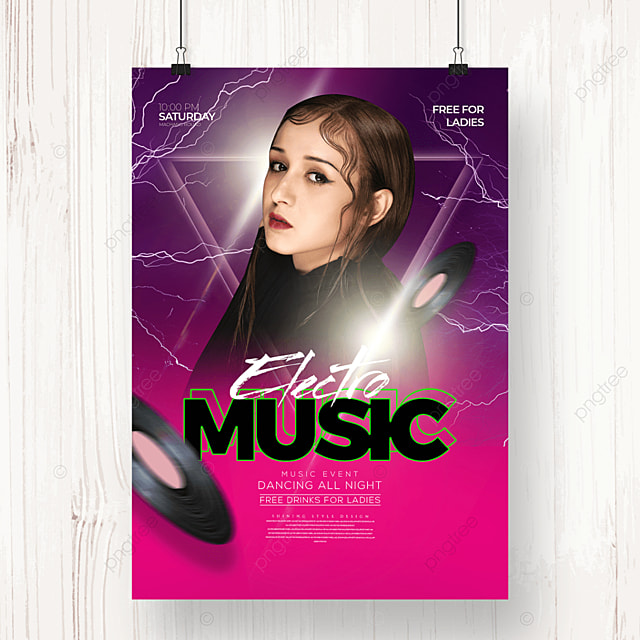 fashion color gradient electronic music party poster